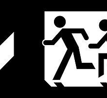 Accessible Means of Egress Icon and Running Man Emergency Exit Sign, Left Hand Down Arrow by Egress Group Pty Ltd