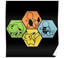 Gen 1 Starters Hexagon Poster