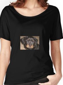 Adorable Rottweiler Puppy Making Eye Contact Women's Relaxed Fit T-Shirt