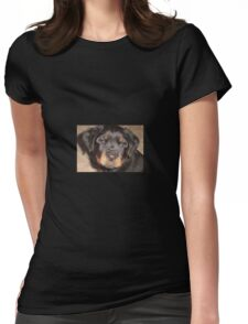 Adorable Rottweiler Puppy Making Eye Contact Womens Fitted T-Shirt