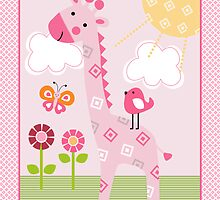 Sunshine Safari Pink Giraffe with bird and flowers by DianesDesigns