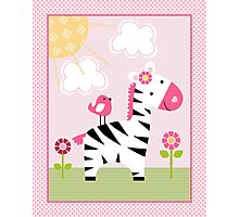 Sunshine Safari Zebra Girl Nursery Art Photographic Print