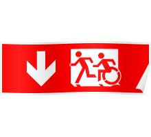 Accessible Means of Egress Icon and Running Man Emergency Exit Sign, Left Hand Down Arrow Poster