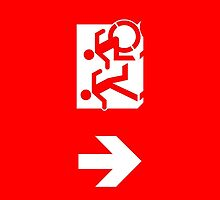 Accessible Means of Egress Icon and Running Man Emergency Exit Sign, Left Hand Down Arrow by LeeWilson
