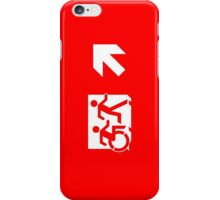 Accessible Means of Egress Icon and Running Man Emergency Exit Sign, Right Hand Diagonally Up Arrow iPhone Case/Skin