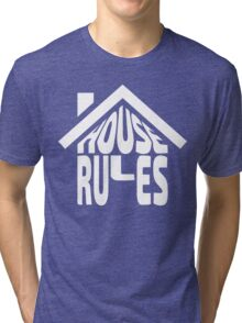 House Rules [Beer Pong Shirt] White Ink Tri-blend T-Shirt