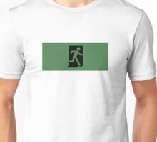 Running Man Emergency Exit Sign, Right Hand Unisex T-Shirt