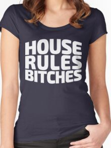 House Rules Bitches [Beer Pong Shirt] White Ink Women's Fitted Scoop T-Shirt