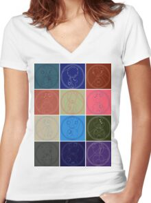 The Names of The Doctor Women's Fitted V-Neck T-Shirt