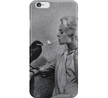 Tippi Hedren having her cigarette lit by a crow on the set of The Birds iPhone Case/Skin