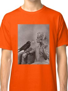 Tippi Hedren having her cigarette lit by a crow on the set of The Birds Classic T-Shirt