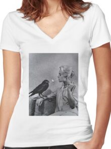 Tippi Hedren having her cigarette lit by a crow on the set of The Birds Women's Fitted V-Neck T-Shirt