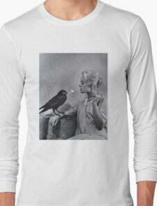 Tippi Hedren having her cigarette lit by a crow on the set of The Birds Long Sleeve T-Shirt