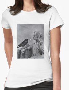 Tippi Hedren having her cigarette lit by a crow on the set of The Birds Womens Fitted T-Shirt