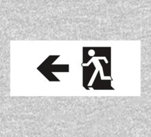 Running Man Emergency Exit Sign, Left Hand Arrow One Piece - Long Sleeve