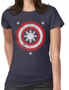 Captain Philippines! (Grunge White Sun) Womens Fitted T-Shirt