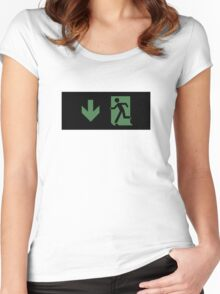 Running Man Emergency Exit Sign, Left Hand Down Arrow Women's Fitted Scoop T-Shirt
