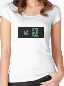 Running Man Emergency Exit Sign, Left Hand Diagonally Down Arrow Women's Fitted Scoop T-Shirt