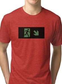 Running Man Emergency Exit Sign, Right Hand Diagonally Down Arrow Tri-blend T-Shirt