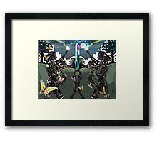 Robot Statues and Butterflies Framed Print