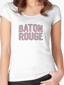 Baton Rouge Chevron Red White Blue Women's Fitted Scoop T-Shirt