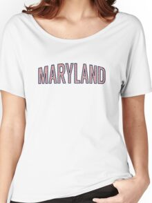 Maryland Chevron Red White Blue Women's Relaxed Fit T-Shirt