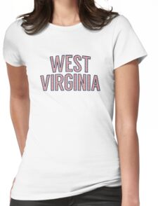 West Virginia Chevron Red White Blue Womens Fitted T-Shirt