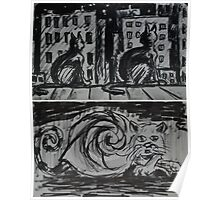 """Ink Sketches - """"Night View"""" and """"Snail Cat"""" Poster"""