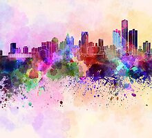 Detroit skyline in watercolor background by paulrommer