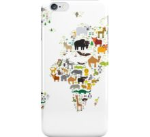 Cartoon animal world map on white background iPhone Case/Skin