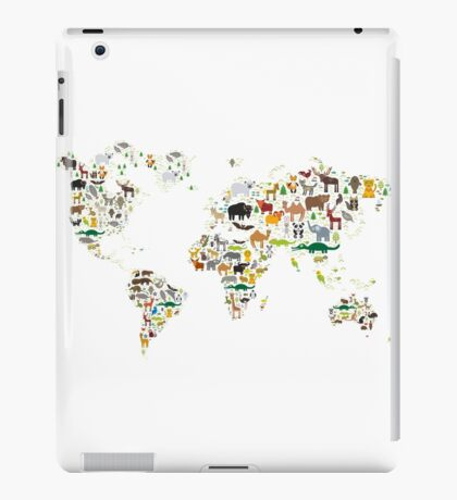 Cartoon animal world map on white background iPad Case/Skin