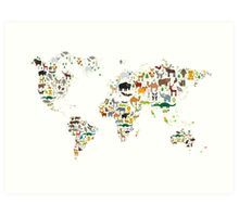 Cartoon animal world map on white background Art Print