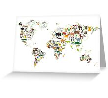 Cartoon animal world map on white background Greeting Card