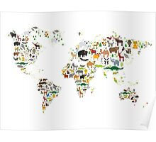 Cartoon animal world map on white background Poster