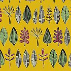leaves and feathers saffron (card) by Sharon Turner