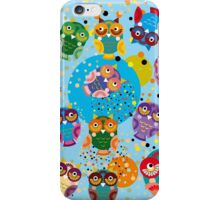 owls on blue background iPhone Case/Skin