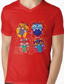 owls on blue background Mens V-Neck T-Shirt