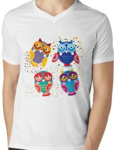 owls on blue background Mens V-Neck T-Shirt