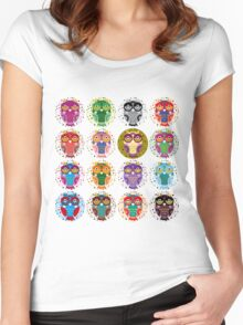 funny colorful owls Women's Fitted Scoop T-Shirt
