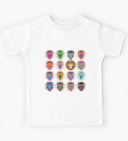 funny colorful owls Kids Tee