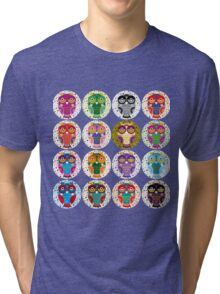 funny colorful owls Tri-blend T-Shirt