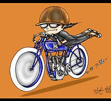 MOTORCYCLE EXCELSIOR STYLE (orange) by squigglemonkey