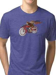 STEAMPUNK INDIAN STYLE MOTORCYCLE T SHIRT Tri-blend T-Shirt