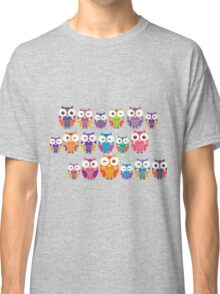 bright colorful owls on black background Classic T-Shirt