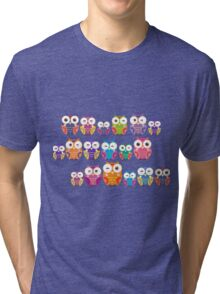bright colorful owls on black background Tri-blend T-Shirt