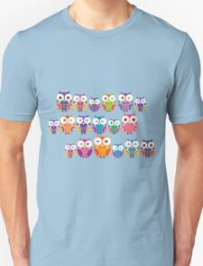 bright colorful owls on black background T-Shirt