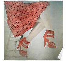 Red Dress on Stool Poster