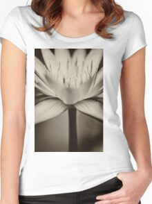 Lotus in black and white Women's Fitted Scoop T-Shirt