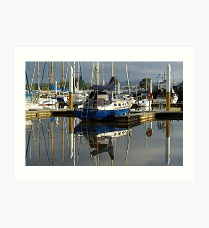 Blue hulls in the morning, Launceston harbour Art Print