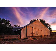 Woolshed at Sunset Photographic Print